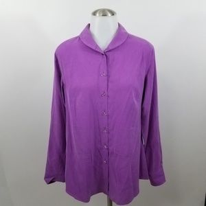 Soft Surroundings Button Front Top S 100% Silk Pur